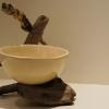 Coupe - 10 cm x 38 cm Céramique, émail, bois flotté